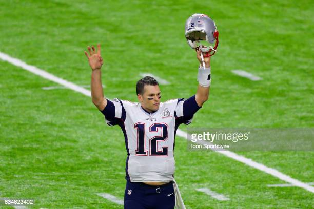 New England Patriots quarterback Tom Brady celebrates after winning Super Bowl LI on February 5 at NRG Stadium in Houston, TX.