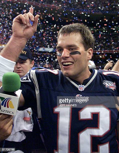 New England Patriots quarterback Tom Brady celebrates his teams victory over the St Louis Rams 03 February 2002 in Super Bowl XXXVI in New Orleans...