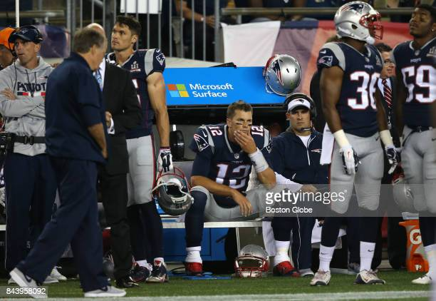 New England Patriots quarterback Tom Brady center sits with a dejected bench late in the fourth quarter The New England Patriots host the Kansas City...