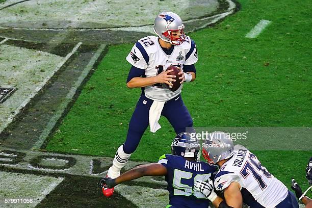 New England Patriots Quarterback Tom Brady during the second quarter of Super Bowl XLIX The New England Patriots defeat the Seattle Seahawks 2824 in...