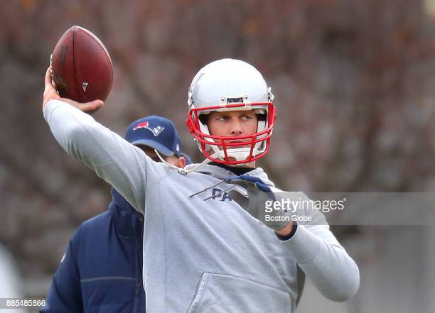 New England Patriots quarterback Tom Brady fires a pass during practice warmups at Gillette Stadium in Foxborough Mass Nov 30 2017