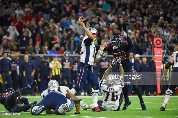 New England Patriots quarterback Tom Brady gets his pass away during the football game between the New England Patriots and Houston Texans at NRG...