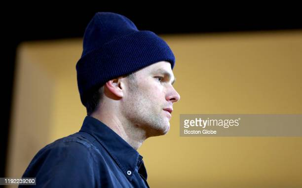 New England Patriots quarterback Tom Brady gives a post-game press conference following New England's 13-20 loss to the Titans and elimination from...