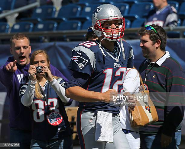 New England Patriots quarterback Tom Brady had his game face on as he made his way onto the field for pre-game warmups before the New England...