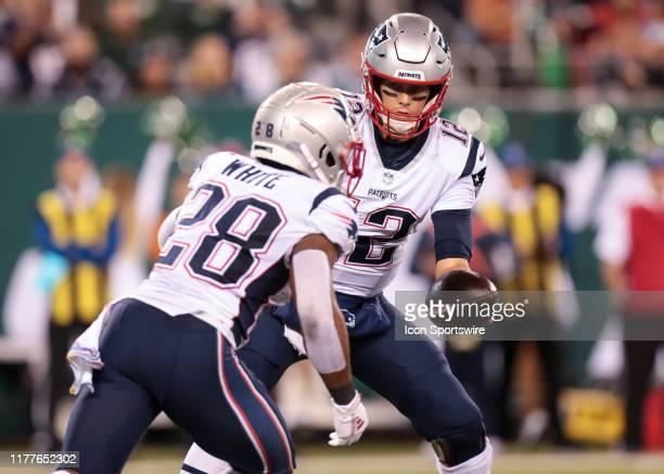 New England Patriots Quarterback Tom Brady hands the ball of to New England Patriots Running Back James White during the National Football League...