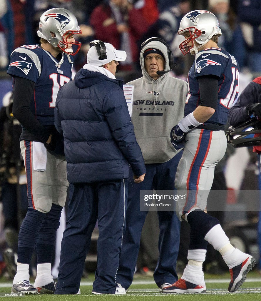 New England Patriots quarterback Tom Brady huddles in a time out with Josh McDaniels, Ryan Mallett and coach Bill Belichick during fourth quarter action against the Baltimore Ravens during the AFC Championship Game at Gillette Stadium on Sunday, Jan. 20, 2013.