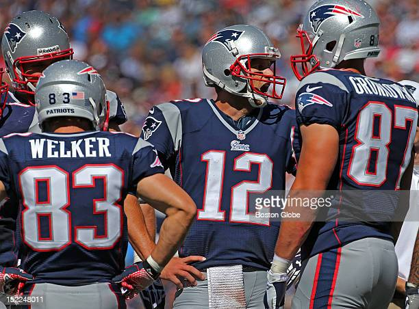 New England Patriots quarterback Tom Brady in the huddle as the New England Patriots play the Arizona Cardinals in the season home opener at Gillette...