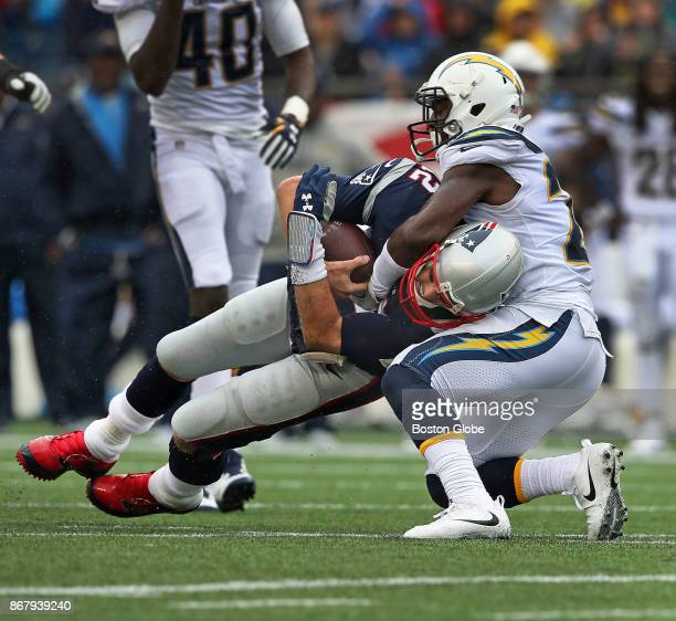 New England Patriots quarterback Tom Brady is sacked by the Chargers Desmond King in the third quarter The New England Patriots host the Los Angeles...