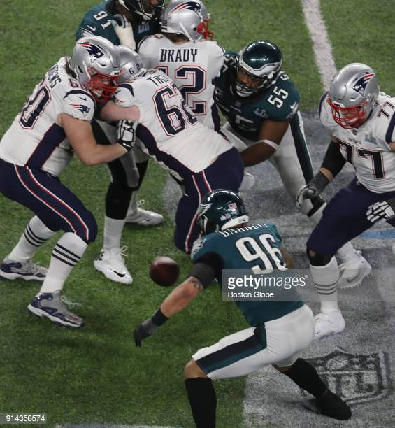 New England Patriots quarterback Tom Brady is strip sacked with fumble recovered by Eagles during 4th quarter of Super Bowl LII The New England...