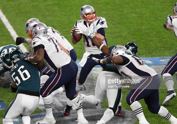 New England Patriots Quarterback Tom Brady is stripped of the ball late in the 4th quarter by Philadelphia Eagles Defensive End Brandon Graham during...
