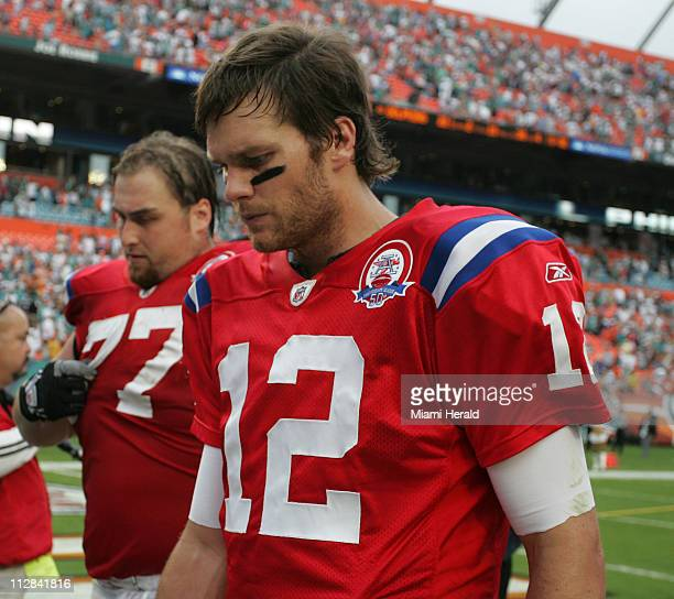 New England Patriots quarterback Tom Brady leaves field at the end of an NFL game against the Miami Dolphins The Dolphins defeated the Patriots 2221...