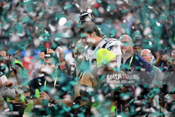 New England Patriots quarterback Tom Brady leaves the field after losing Super Bowl LII to the Philadelphia Eagles at US Bank Stadium in Minneapolis...