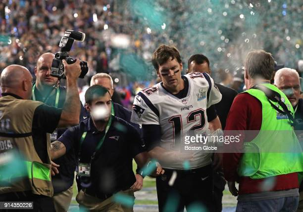 New England Patriots quarterback Tom Brady leaves the field after the loss The New England Patriots play the Philadelphia Eagles in Super Bowl LII at...