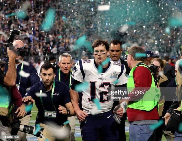 New England Patriots quarterback Tom Brady leaves the field after the loss The New England Patriots play the Philadelphia Eagles in Super Bowl LII at...