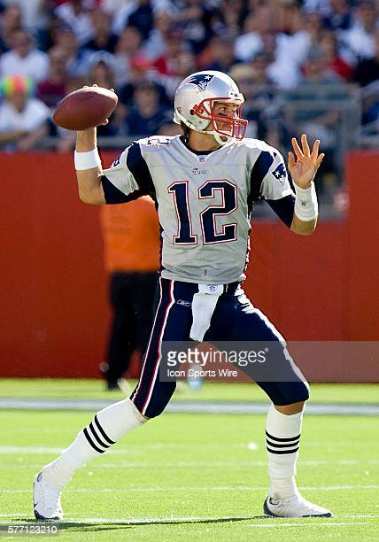 New England Patriots quarterback Tom Brady looks to throw during the NFL AFC game against the Buffalo Bills won by the Patriots 387 at Gillette...