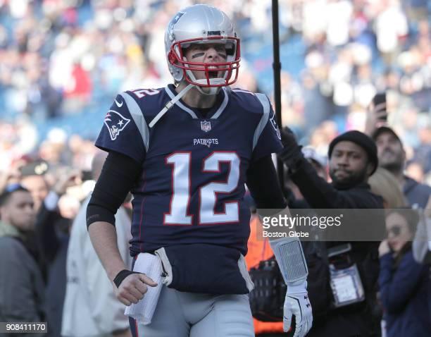 New England Patriots quarterback Tom Brady on the field before the game The New England Patriots host the Jacksonville Jaguars in an NFL AFC...