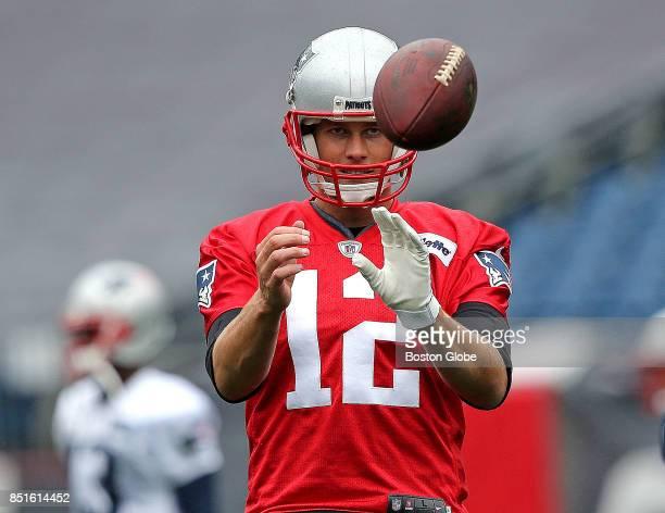New England Patriots quarterback Tom Brady participates in a drill during practice at Gillette Stadium in Foxborough Mass Sept 22 2017