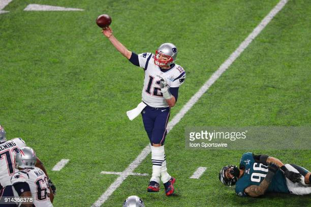 New England Patriots quarterback Tom Brady passes during the fourth quarter of Super Bowl LII on February 4 at US Bank Stadium in Minneapolis MN