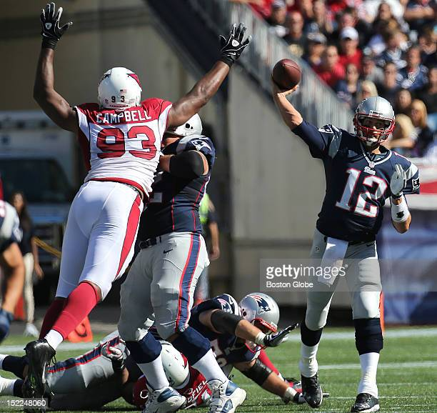 New England Patriots quarterback Tom Brady passes during the second quarter as the New England Patriots play the Arizona Cardinals in the season home...