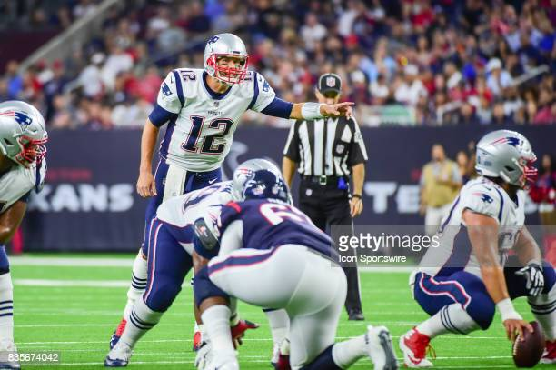 New England Patriots quarterback Tom Brady points out the middle linebacker during the NFL preseason game between the New England Patriots and the...