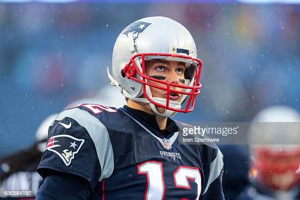 New England Patriots quarterback Tom Brady prior to the National Football League game between the New England Patriots and the New York Jets on...