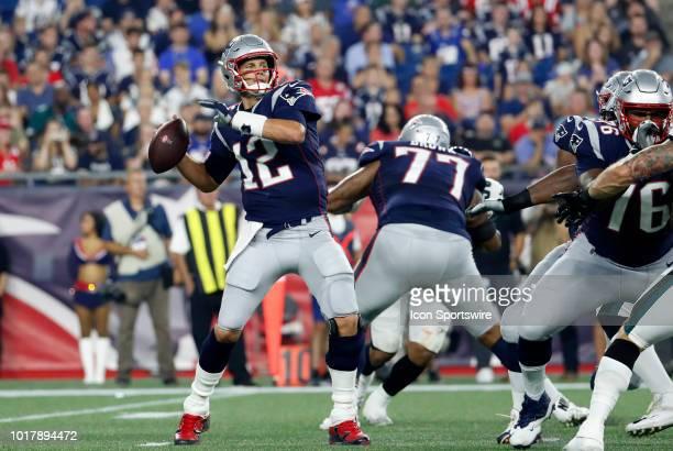 New England Patriots quarterback Tom Brady rears back to pass during a preseason NFL game between the New England Patriots and the Philadelphia...
