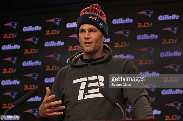 New England Patriots quarterback Tom Brady responds to a question about his support of President Elect Donald Trump during his morning media...