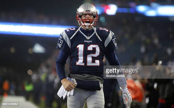 New England Patriots quarterback Tom Brady screams as he runs out on the field for warm ups The New England Patriots host the Pittsburgh Steelers in...