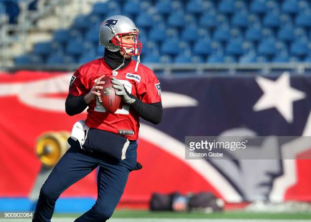 New England Patriots quarterback Tom Brady sets up to make a pass during practice at Gillette Stadium in Foxborough Mass Jan 3 2018