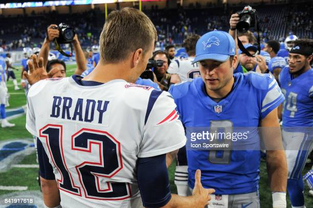 New England Patriots quarterback Tom Brady shakes hands with Detroit Lions quarterback Matthew Stafford following an NFL preseason game between the...
