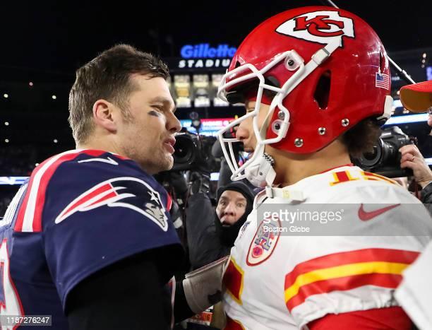 New England Patriots quarterback Tom Brady shakes hands with Kansas City Chiefs quarterback Patrick Mahomes after the Chief defeated the Patriots,...