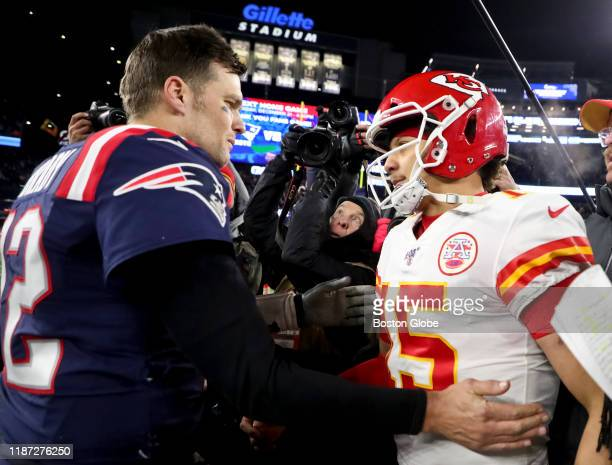 New England Patriots quarterback Tom Brady shakes hands with Kansas City Chiefs quarterback Patrick Mahomes after the Chief defeated the Patriots,...