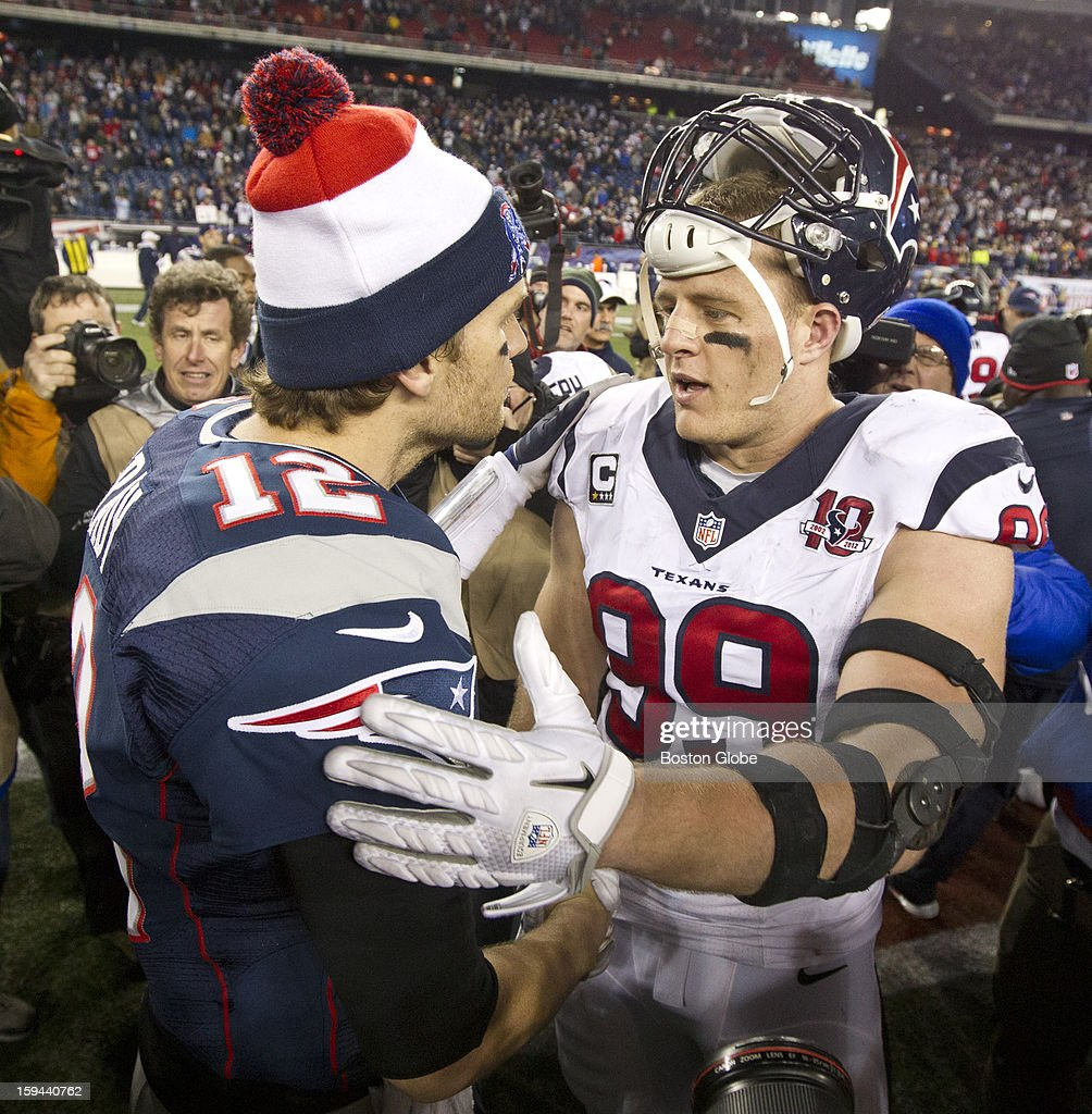 New England Patriots quarterback Tom Brady shakes hands with the Houston Texans' J.J. Watt after the Patriots defeated the Texans 41-28 in an NFL AFC Divisional Playoff Game at Gillette Stadium, Jan. 13, 2013.