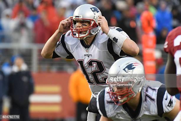 New England Patriots Quarterback Tom Brady shouts out instructions during the National Football League game between the New England Patriots and the...