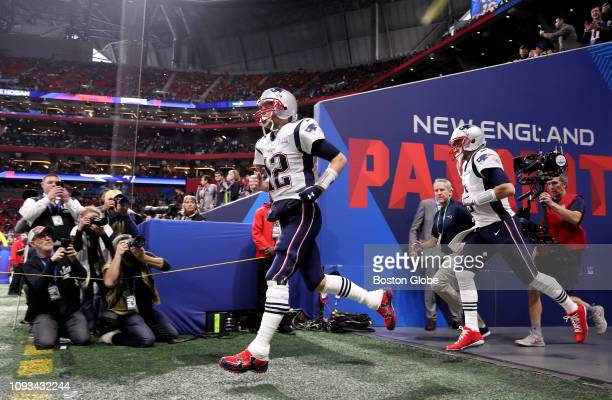 New England Patriots quarterback Tom Brady takes the field before the New England Patriots play the Los Angeles Rams in Super Bowl LIII at...