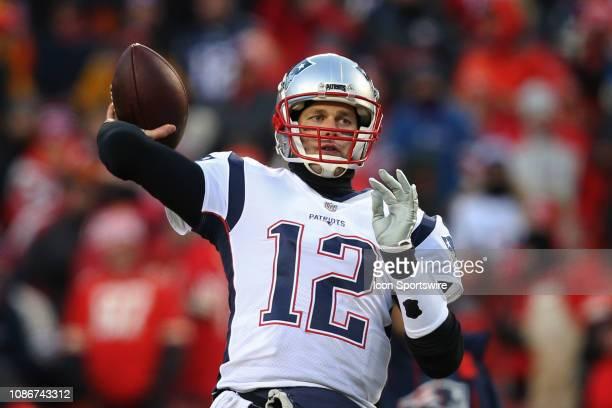 New England Patriots quarterback Tom Brady throws a pass before the AFC Championship Game game between the New England Patriots and Kansas City...