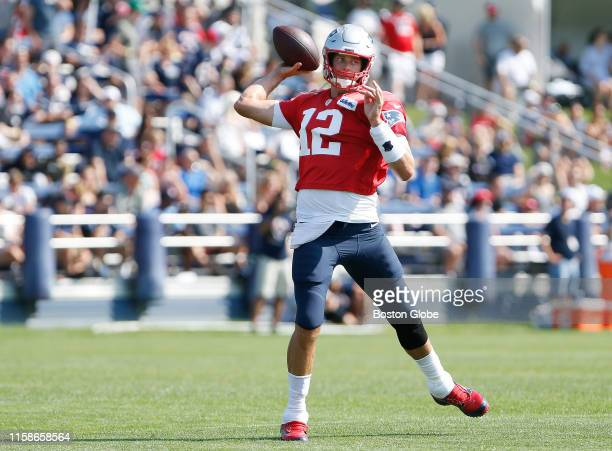 New England Patriots quarterback Tom Brady throws a pass during Patriots Training Camp at Gillette Stadium in Foxborough, MA on July 28, 2019.