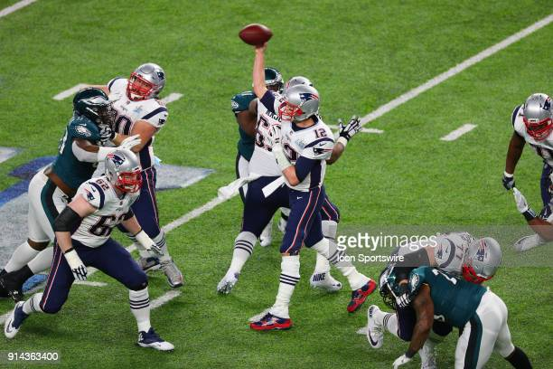 New England Patriots quarterback Tom Brady throws a pass during the first quarter of Super Bowl LII on February 4 at US Bank Stadium in Minneapolis MN