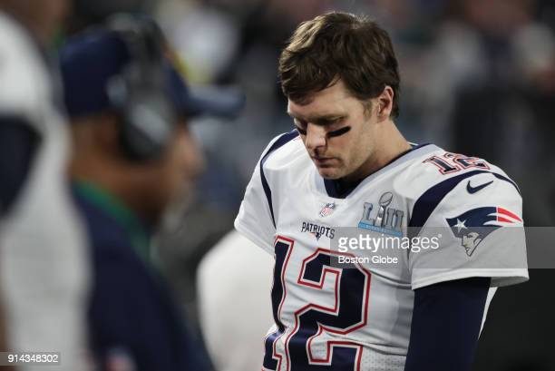 New England Patriots quarterback Tom Brady walks off the field after interception late during 4th quarter of Super Bowl LII The New England Patriots...