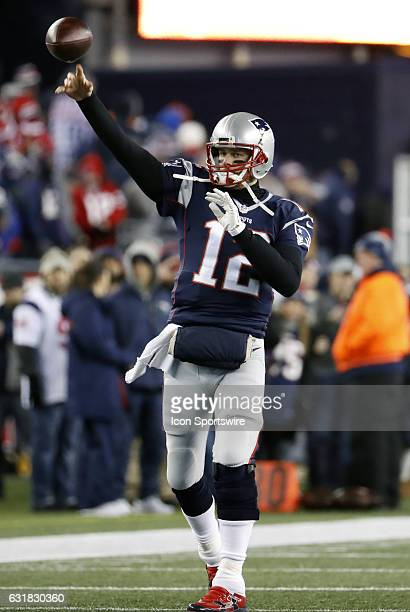 New England Patriots quarterback Tom Brady warms up before an AFC Divisional Playoff game between the New England Patriots and the Houston Texans on...