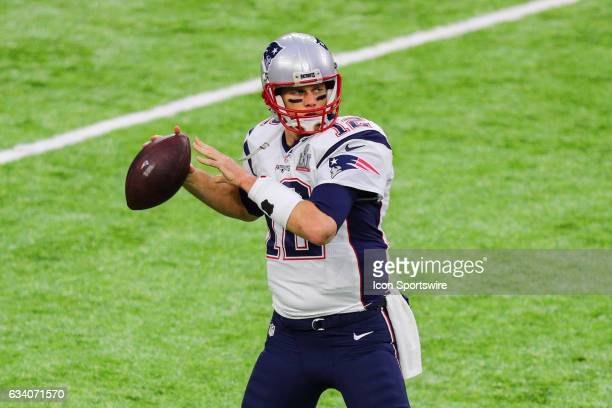 New England Patriots quarterback Tom Brady warms up on the field prior to Super Bowl LI on February 5 at NRG Stadium in Houston, TX.