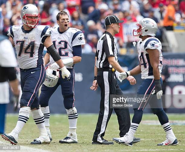 New England Patriots quarterback Tom Brady yells at teammate Shane Vereen after a dropped pass against the Houston Texans during second quarter at...