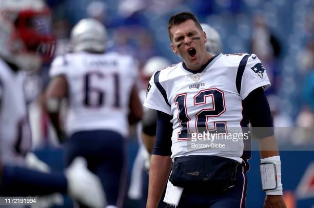 New England Patriots quarterback Tom Brady yells Let's Go during pregame warm ups on the field The Buffalo Bills host The New England Patriots at New...