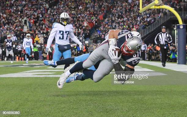New England Patriots Rob Gronkowski catches the ball for a touchdown against Tennessee Titans Kevin Byard in the fourth quarter The New England...