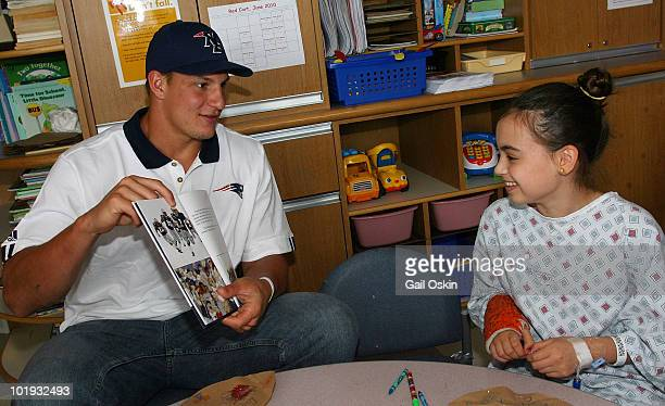 New England Patriots rookie player Rob Gronkowski visits patient Emma at Children's Hospital Boston on June 9 2010 in Boston Massachusetts