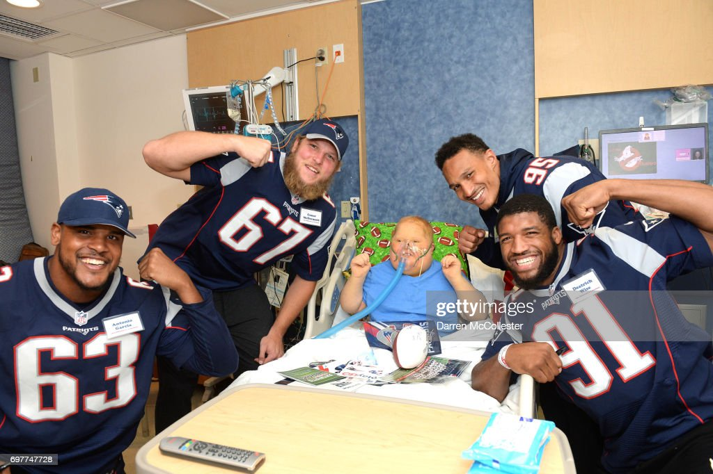 New England Patriots rookies (L to R) Antonio Garcia, Conor McDermott, Derek Rivers, and Deatrich Wise Jr., visit Jack at Boston Children's Hospital June 19, 2017 in Boston, Massachusetts.