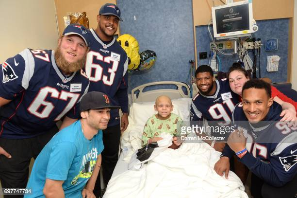 New England Patriots rookies Conor McDermott Antonio Garcia Deatrich Wise Jr and Derek Rivers visit Jose and Dad at Boston Children's Hospital June...