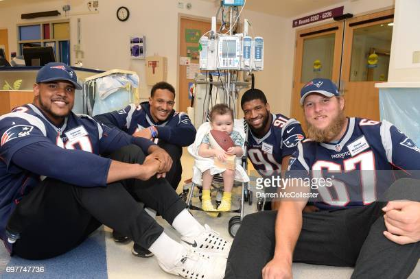 New England Patriots rookies Conor McDermott Antonio Garcia Derek Rivers and Deatrich Wise Jr visit Ketllin at Boston Children's Hospital June 19...