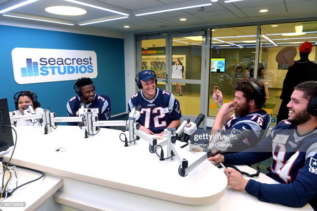 New England Patriots rookies (L to R) David Jones, Max Rich, Andrew Jelks, and Austin Carr do an interview in Seacrest Studios while visiting the kids at Boston Children's Hospital June 19, 2017 in Boston, Massachusetts.