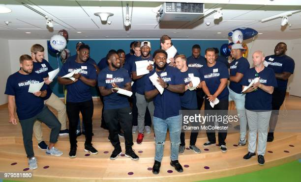 New England Patriot's rookies sing a song for the kids at Boston Children's Hospital June 20 2018 in Boston Massachusetts